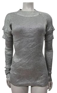 Sheri Bodell Gray Frost Ribbed Ruffle On Sleeves Sweater