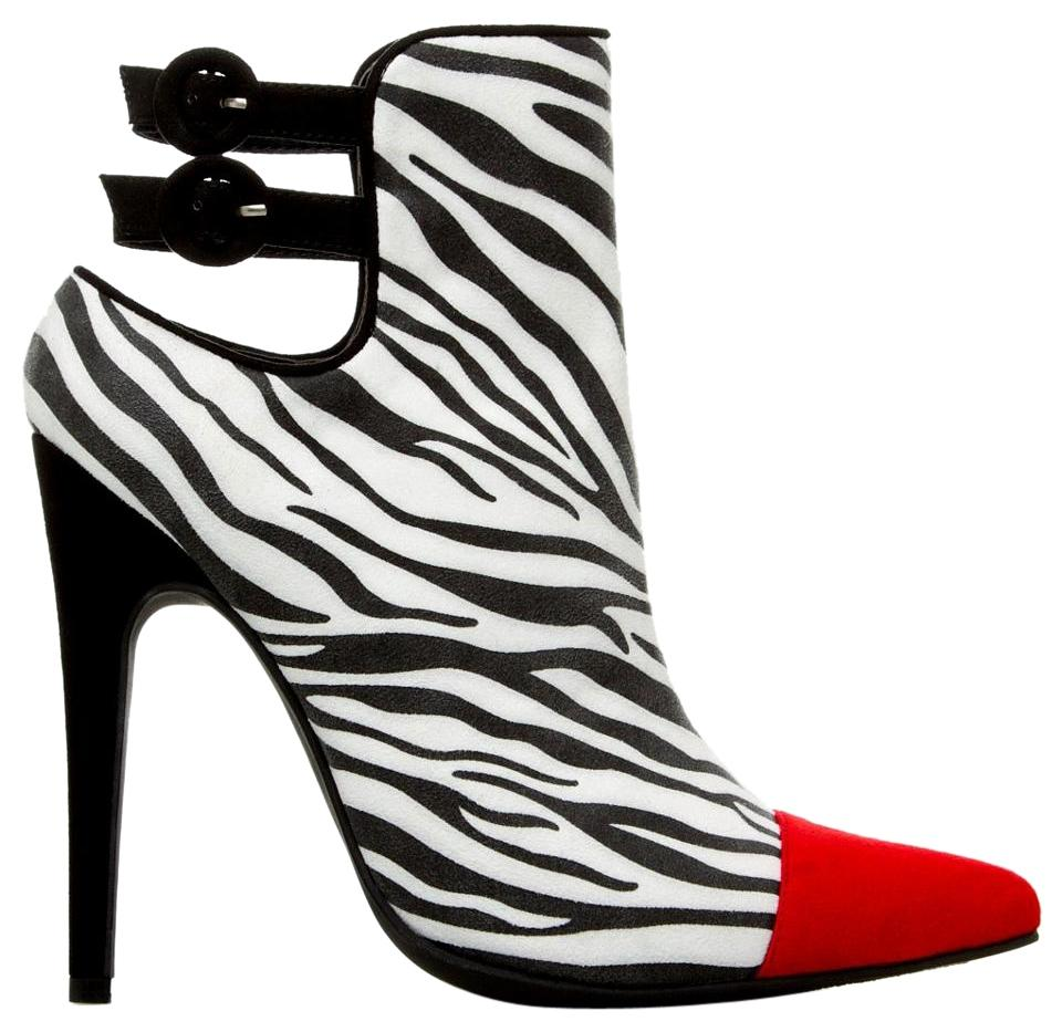 Shoedazzle animal zebra print with red toe bootie pumps