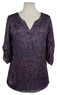 Shoshanna Womens Printed V Neck Wtw Shirt Silk Top Black