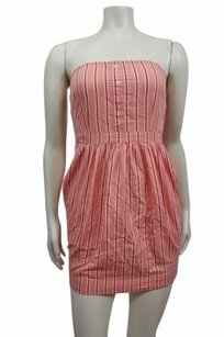 Silence + Noise Striped Strapless Urban Outfitters Peach Combo Dress