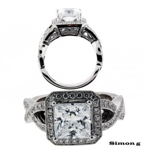 Simon G 50ct Diamond Engagement Ring In 18k Fits 2ct Square Cut Diamond