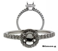 Simon G 40ct Diamond Engagement Ring 18k Fits 80 To 115ct Round Cut Diamond