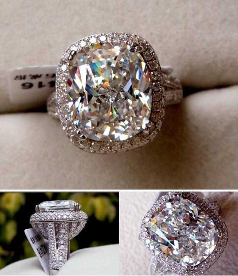 Size 8 Huge 8 Carat Platinum Diamond Certify Sona Engagement Ring