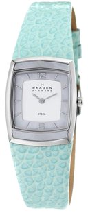 Skagen Denmark 855SSLI Blue-Green Womens Leather Steel Case Mop Inlay Watch