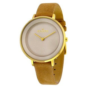 Skagen Denmark Ditte Grey Dial Tan Leather Ladies Watch SKSKW2215