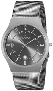 Skagen Denmark Skagen Mens 233xlttm Charcoal Dial Grey Stainless Steel Mesh Bracelet Watch