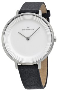 Skagen Denmark SKW2261 Ditte Silver Dial Black Leather Strap Women's Watch