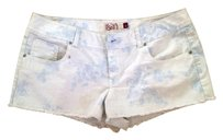 Social Occasions by Mon Cheri Summer Short Casual Mini/Short Shorts White with Blue Floral Print