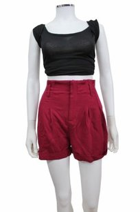 Sparkle & Fade Paperbag High Waist Urban Outfitters Dress Shorts Wine