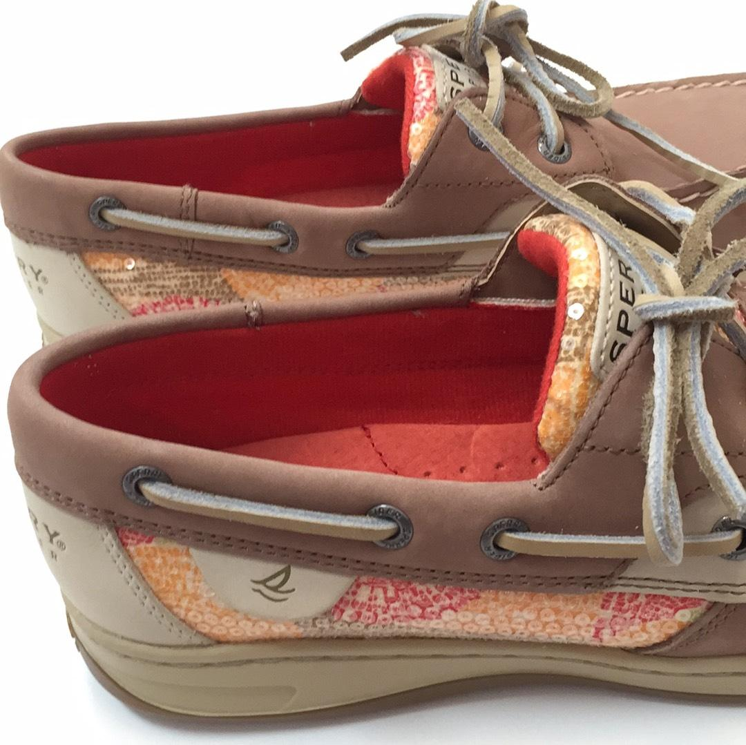 5f23f52f0ce ... Sperry Tan with with with Orange and Pink Design Flats Size US 8  Regular (M ...
