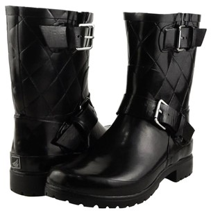 Sperry Top-sider Falcon Quilted Womens Designer Mid Calf Rain 6 Black Boots