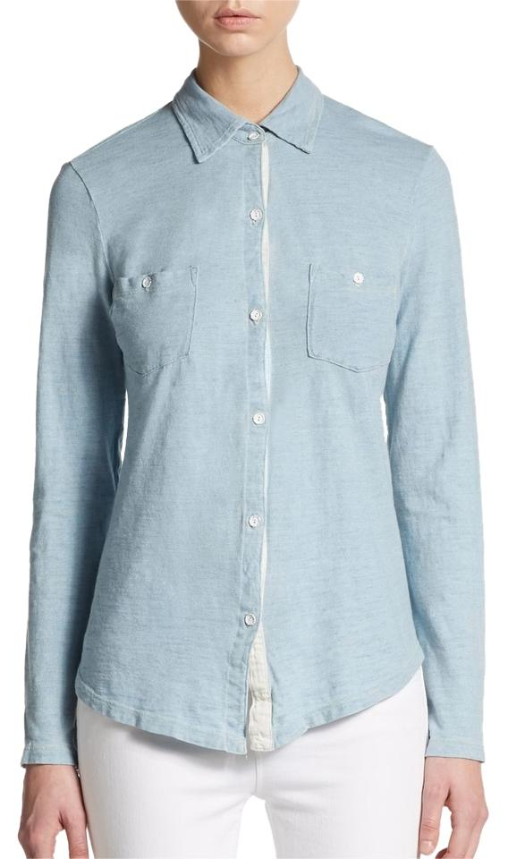 Splendid Powder Blue Button Up Cotton Shirt Button Down Shirt - 66 ...