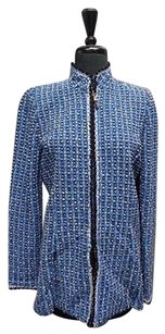 St. John John Collection Textured Full Zip Wool Sma10260 Blue And Black Jacket
