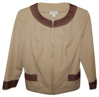 St. John Sport P Tan Crochet Trim Full Zip Brown Jacket