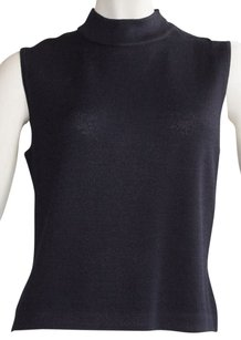 ST. JOHN Basics Knitted Mock Neck Side Zip Sleeveless Sweater Sz S Vest