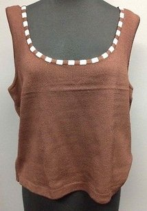 St. John Santana Knit Rayon Blend Striped Collar Accented Sm14353 Top Brown