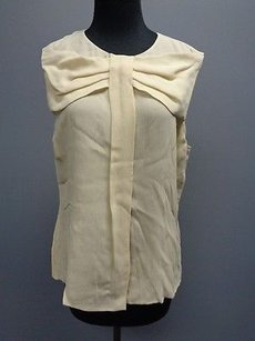 St. John Couture Pleated Back Zipper Round Neck Sm12360 Top Cream