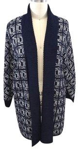 St. John Pattern Wool Open Long Cardigan Sweater
