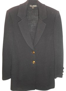St. John Long Knit Button Black Jacket