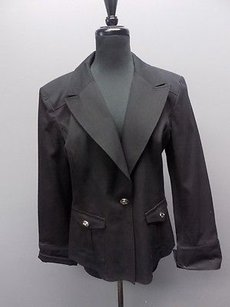 St. John St. John Sport Black Cotton Blend Button Down Blazer Jacket 1199a