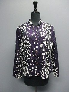 St. John St. John Amethyst Animal Print Long Sleeves Collar Blazer 1464 A