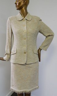 St. John St John Collection Green Beige Tweed Knit Fringe 2pc Jacket Skirt Suit Usa
