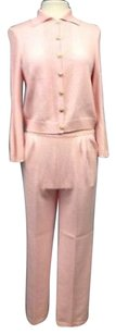 St. John St John Collection Pink Wool Pc Suit Set Pant Cardigan Sma 6072