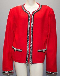 St. John St. John Collection Red Santana Knit Collarless Zip Jacket Hs156