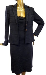 St. John St John Collection Black Santana Knit Tortoise Accent 2pc Dress Suit 1210