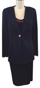St. John St John Pc Navy Knit Red Trim Shell P Skirt 8 Jacket Set
