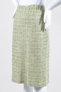 St. John Green Blue Tweed Pencil Skirt Multi-Color