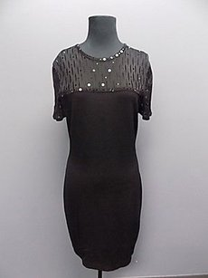 St. John John Evening Wool Blend Knit Fitted Sequined Bodycon 845a Dress