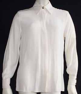 St. John John Cream Silk Long Sleeve Collared Button Front Hs121 Top Ivory