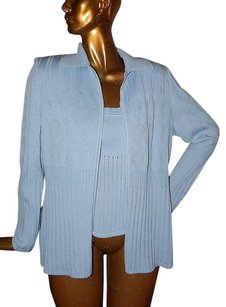 St. John 14l Knit 2pc Twinset Full Zip Jacket W Tank Sweater