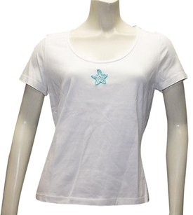St. John John Sport Stretch Knit Starfish Applique Hs147 T Shirt White