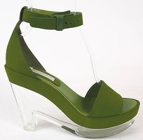 Stella McCartney Suede Ankle Strap Acrylic Heels Green Platforms