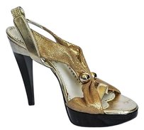 Stella McCartney Gold Pump Sandal Heel Metallics Platforms