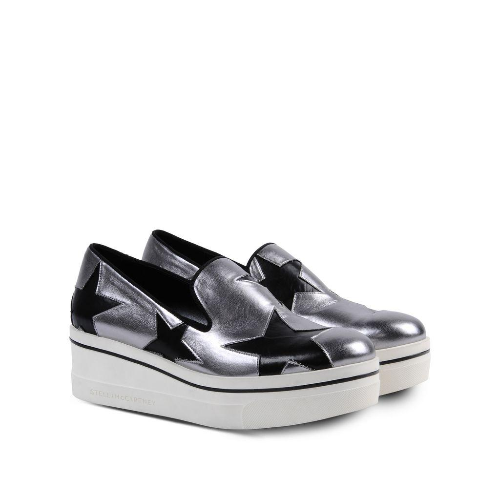 Stella McCartney New Binx Silver Star Faux Leather Loafers 40 Platforms Size US 10