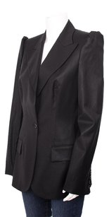 Stella McCartney Stella Mccartney Black Wool Sheen Peak Puff Shoulder Tuxedo Blazer Jacket 1046