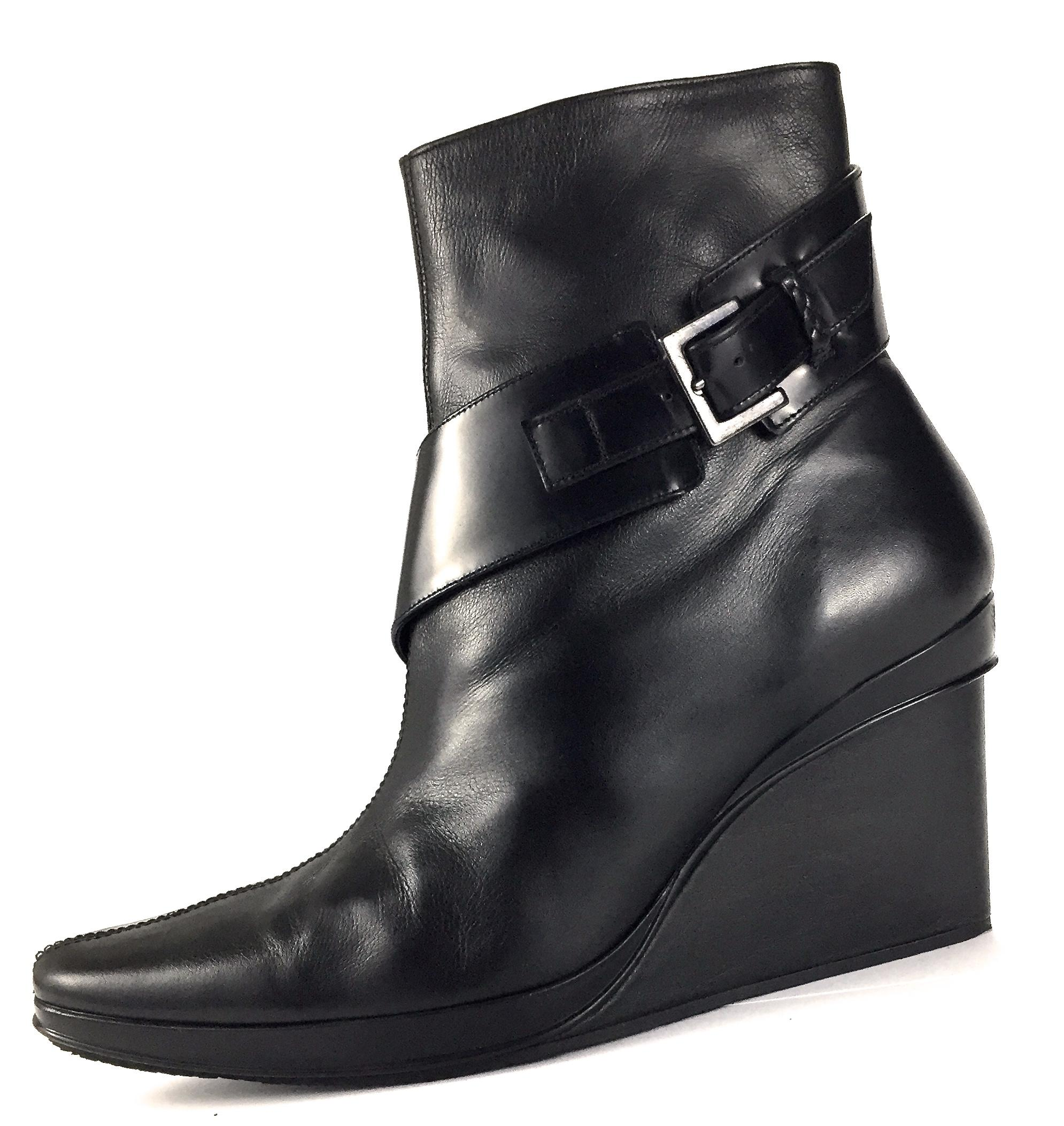 Stephane Kélian Leather Wedge Boots