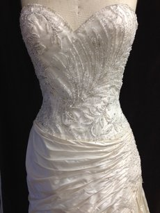 Stephen Yearick Sz 6/8 12922 Silk Taffeta Beaded Embroidered Lightweight Wedding Dress