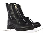 Steve Madden Womens Combat Leather Casual Lace Up Black Boots