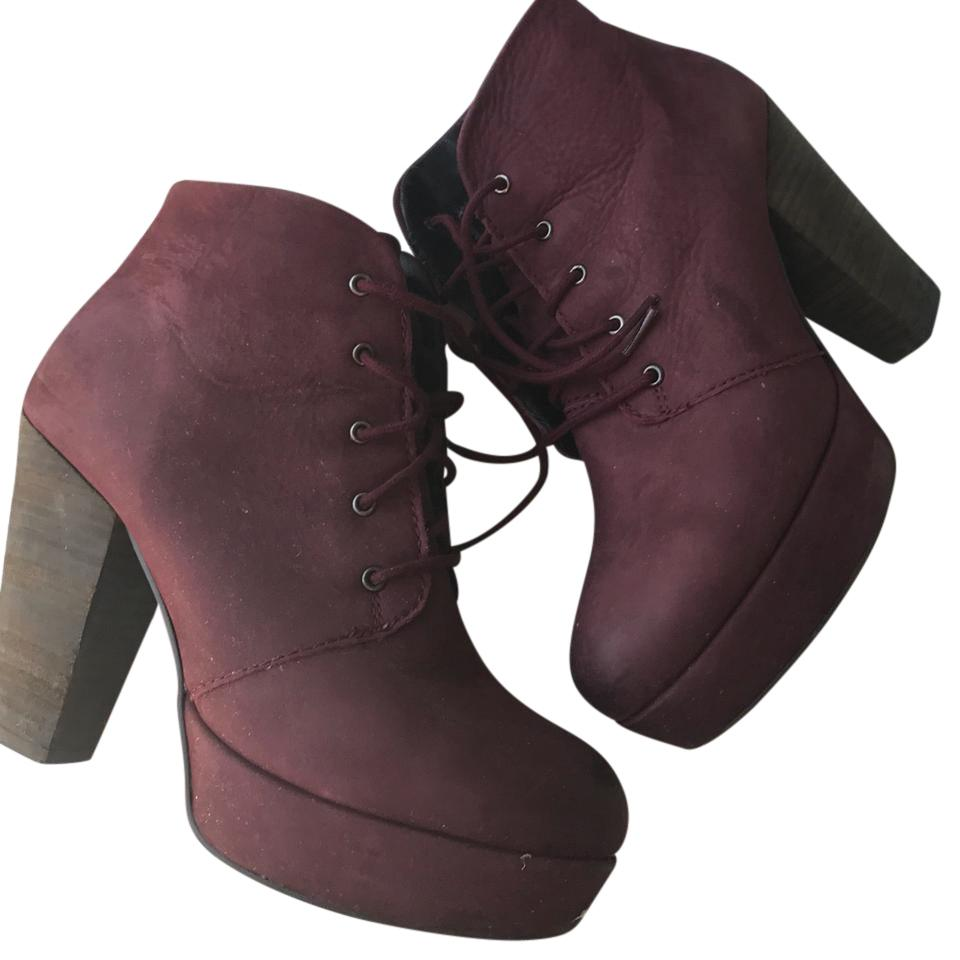 steve madden womens chunky heel size 8 burgundy wine boots