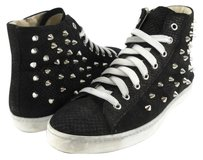 STOKTON Pitone Star Studded Leather Designer Sneakers Black Athletic