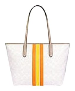 Stripe City Zip Tote Shoulder Bag SV/Chalk F38405 MSRP $300