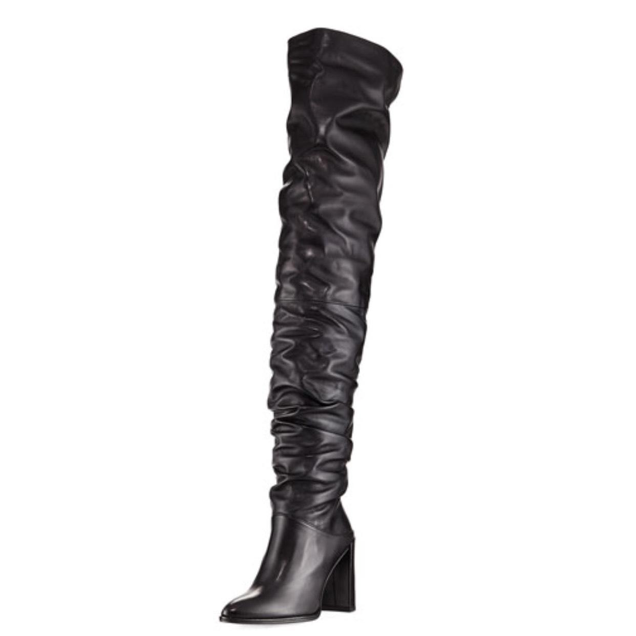 Stuart Weitzman Black Leather Histyle Over The Knee Boots/Booties Size US 6.5 Regular (M, B)