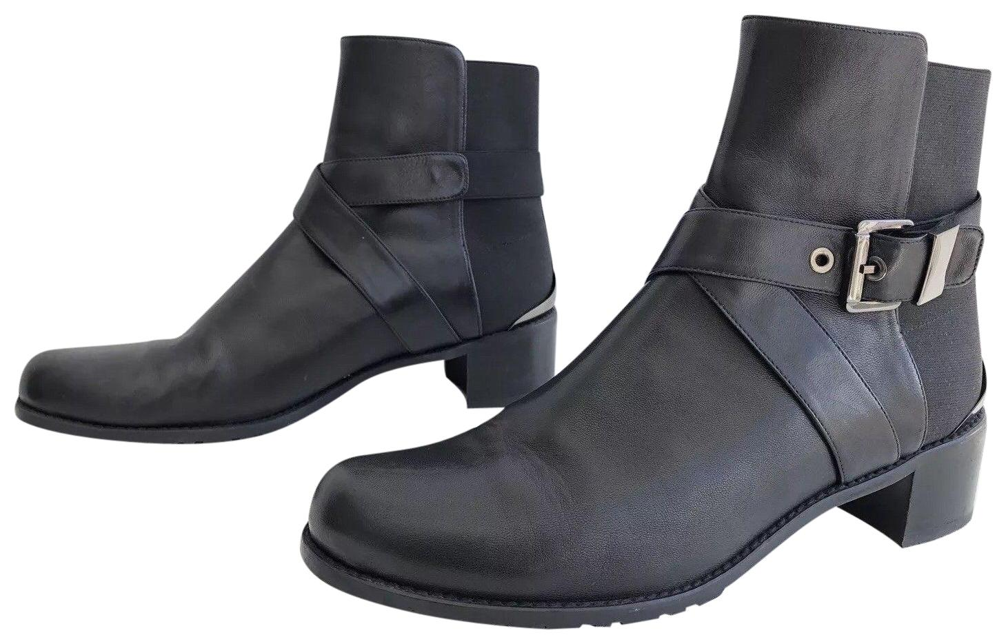 Stuart US Weitzman Black Manlow Stretch-back Buckled Ankle Boots/Booties Size US Stuart 10 Regular (M, B) becd3c