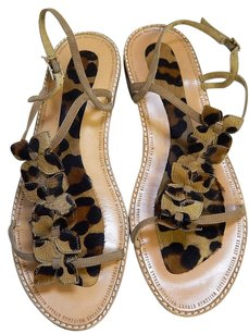 Stuart Weitzman Leopard Calf Hair Tan Leather Flat Multi-Color Sandals