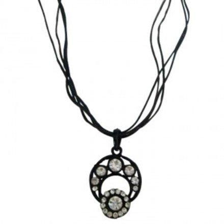 Stunning Pendant Exotic Clear Rhinestone Multistanded Strings Necklace