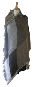 Women's Wool Scarf w Fringe Large Check Plaid Khaki Wool Shawl Wrap 205x140cm (82in x 55in)